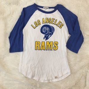 Junk Food LA Rams NFL Graphic Raglan Tee Shirt